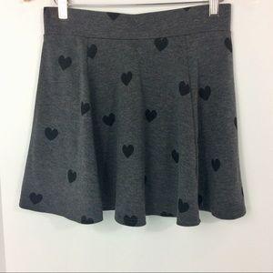 H&M Divided Skirt Heart Skater Skirt Zipper Flowy